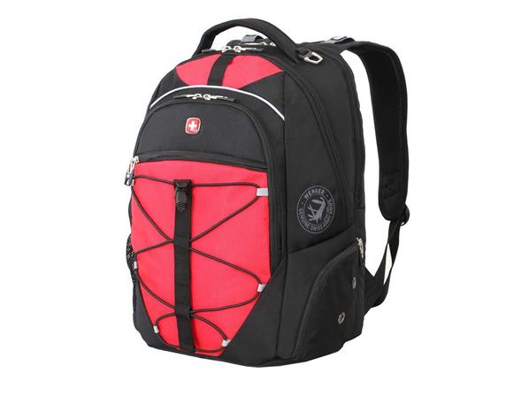 Рюкзак с отделением для ноутбука 15'' WENGER, регулируемые эластичные плечевые ремни анатомической формы, черный/ красный - фото № 1
