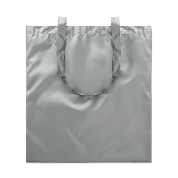 Сумка шоппер блестящая, серый - фото № 1