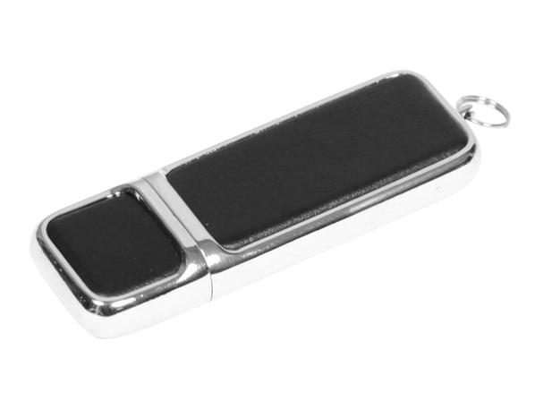 USB-флешка металлическая на 64 Гб, хром/черный - фото № 1