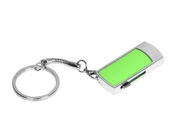 Флешка брелок выдвижная металлическая на 64 Гб, зеленый - фото № 1