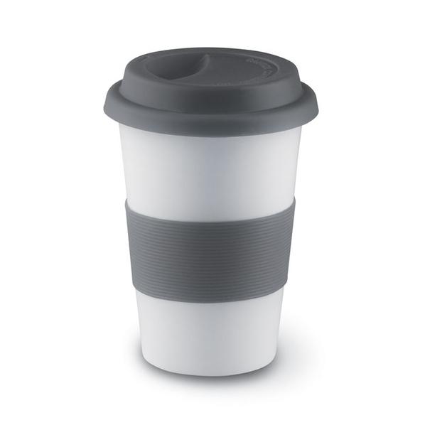 Кружка фарфоровая с силиконовым ободком, белый/серый