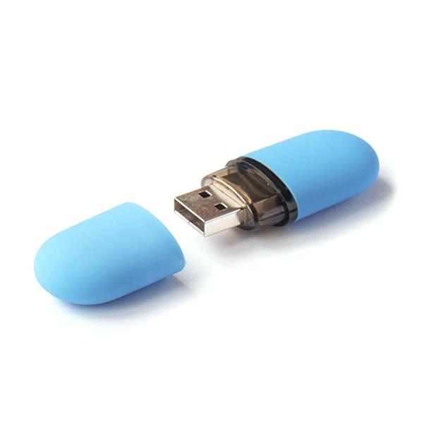 Флешка Капсула овальная, пластиковая, софт-тач, голубая, 32Гб - фото № 1