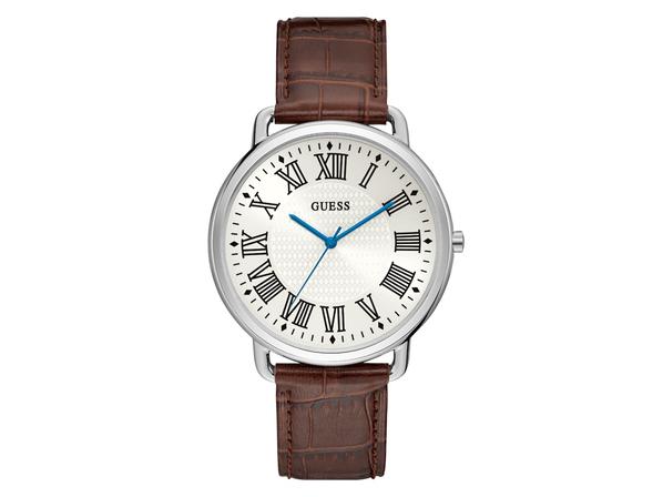 Часы наручные Guess, мужские, d44, серебряный/темно-коричневый