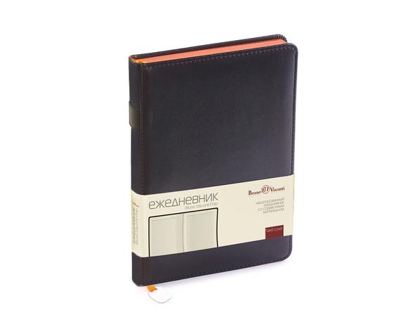 Ежедневник недатированный Bruno Visconti Polo А5, черный/ оранжевый - фото № 1