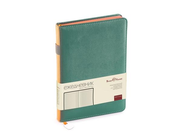 Ежедневник недатированный Bruno Visconti Polo А5, зеленый/ оранжевый - фото № 1