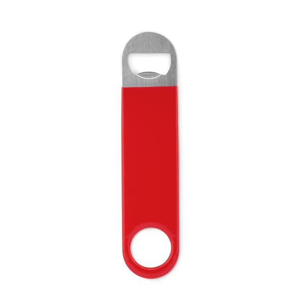 Открывалка бутылочная, нержавеющая сталь, пластиковая поверхность, красный/ серый - фото № 1