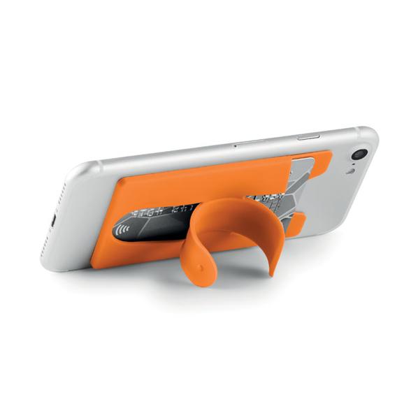 Держатель для телефона и карт силиконовый, оранжевый - фото № 1