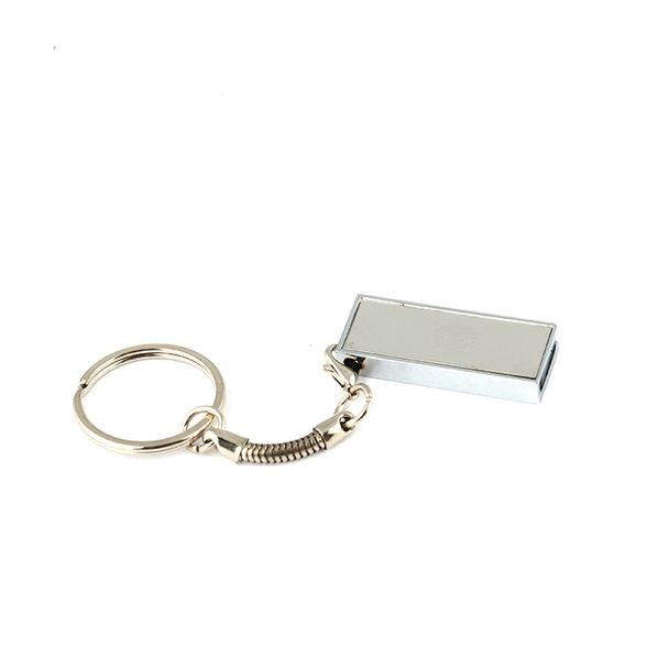 Флешка брелок Слайд мини, металлическая, серебристая, 32Гб - фото № 1