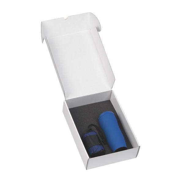 """Подарочный набор: термостакан """"Монтана"""" 0,4 л., полотенце для фитнеса """"Тонус"""", синий - фото № 1"""