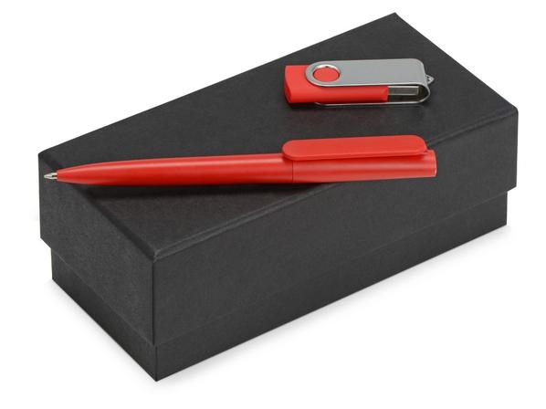 Набор подарочный Qumbo: ручка шариковая, флешка 8 Гб, красный - фото № 1