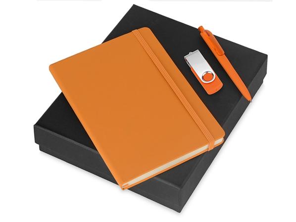 Набор подарочный Vision Pro Plus soft-touch: флешка, ручка и блокнот А5, оранжевый - фото № 1