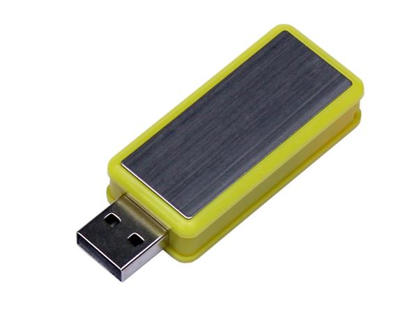 Флешка USB 2.0 на 32 Гб Промо, выдвижной механизм, желтая/ хром - фото № 1