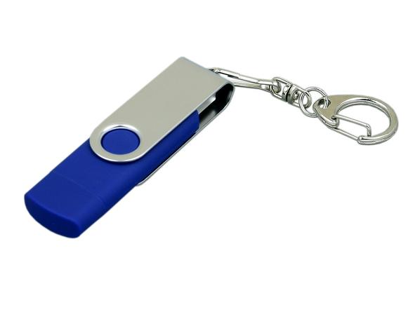 USB-флешка на 16 Гб с поворотным механизмом и дополнительным разъемом Micro USB, синий/серый - фото № 1