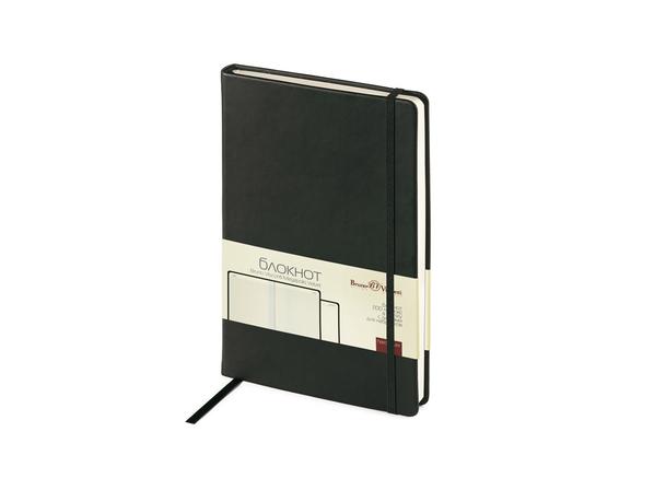 Блокнот в клетку на резинке Bruno Visconti Megapolis Velvet А5, 200 стр., черный - фото № 1