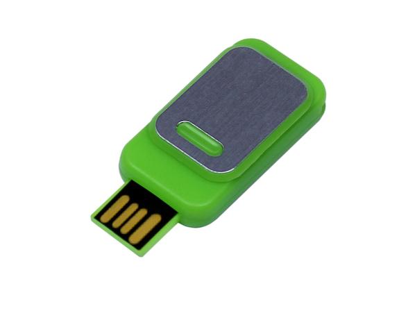 Флешка USB 2.0 на 64 Гб Промо, металлик/ зеленая - фото № 1