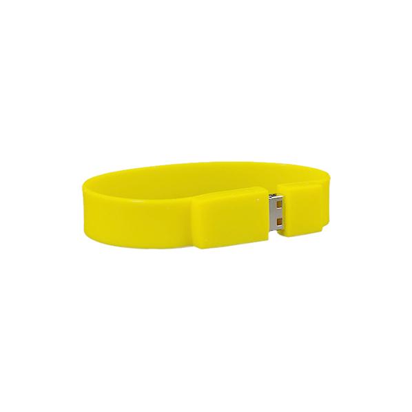 Флешка браслет силиконовая, желтая, 4Гб - фото № 1