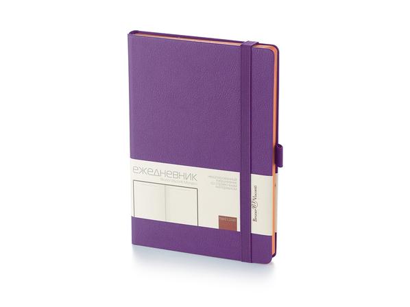 Ежедневник недатированный Bruno Visconti Monaco А5, фиолетовый/ оранжевый - фото № 1