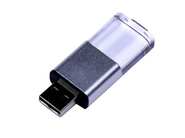 Флешка USB 2.0 на 64 Гб Промо, выдвижной механизм, черная/ прозрачная - фото № 1