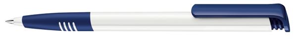 Ручка шариковая пластиковая Super-hit Basic Polished Soft Grip, синяя/ белая - фото № 1