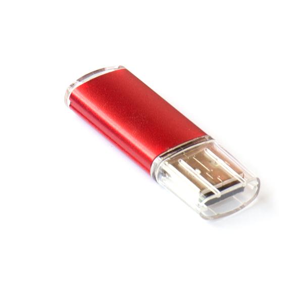 Флешка Симпл прямоугольная, пластиковая с металлической вставкой, красная, 4Гб - фото № 1