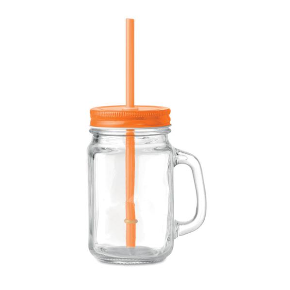 Стеклянная банка с соломинкой, оранжевый - фото № 1