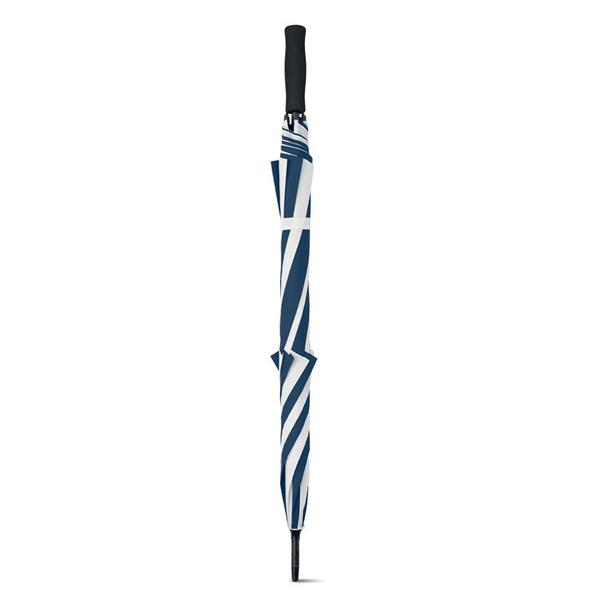 Зонт трость купол сегментами механический, темно-синий / белый - фото № 1