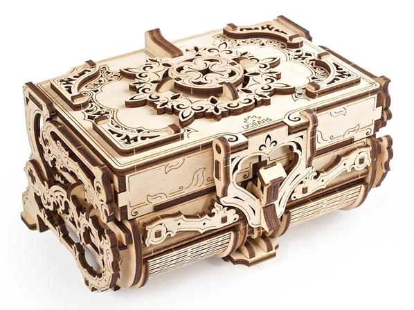 3D-пазл Ugears Антикварная шкатулка, светло-бежевая - фото № 1