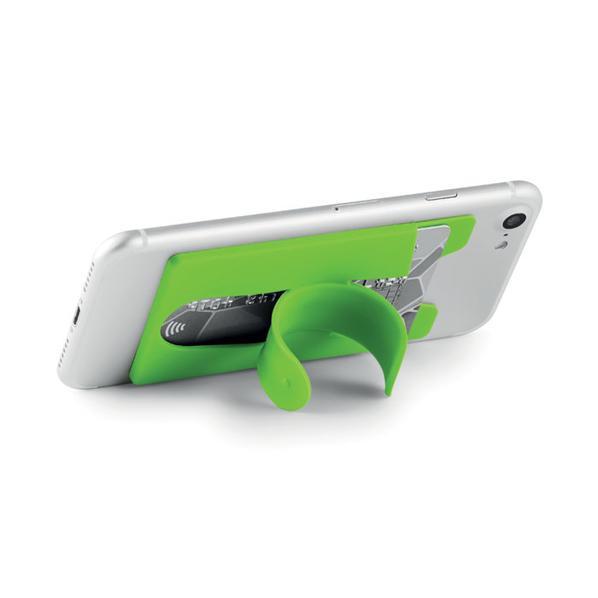 Держатель для телефона и карт силиконовый, зелёный - фото № 1