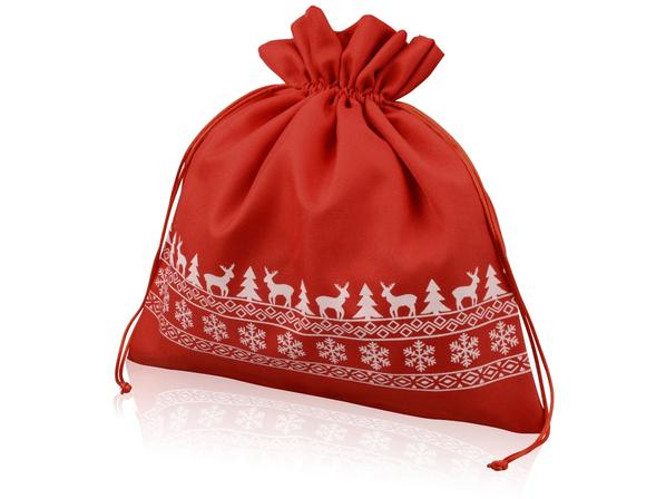 Мешочек подарочный новогодний с узором, темно-красный - фото № 1