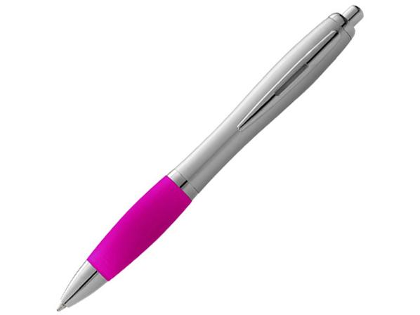 Ручка шариковая пластиковая Nash, серый металлик / розовая - фото № 1