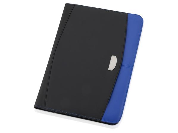 Папка для документов на молнии с блокнотом и калькулятором Gabin А4, черная/ синяя