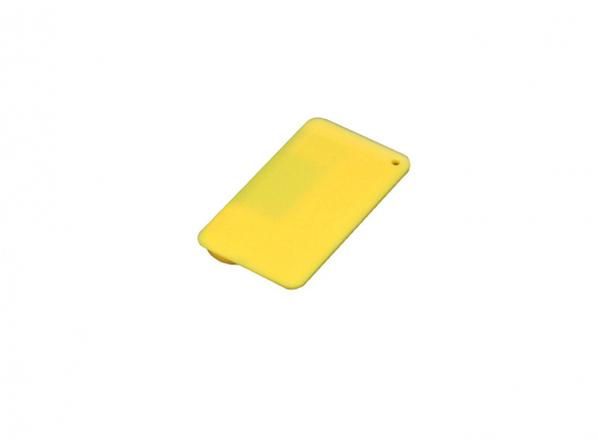 Флешка USB 2.0 в виде пластиковой карточки, 16 Гб, желтая - фото № 1