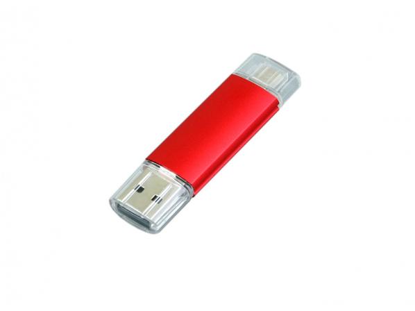 Флешка USB 2.0/micro USB, 16 Гб, красная - фото № 1
