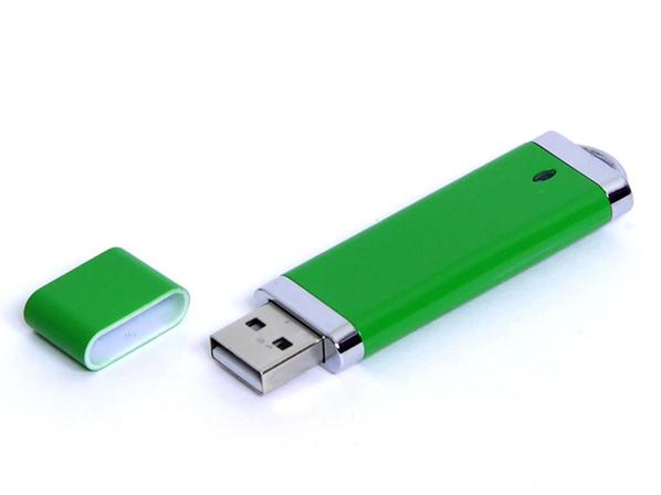 Флешка USB 3.0 на 64 Гб Промо, классическая форма, зеленая - фото № 1