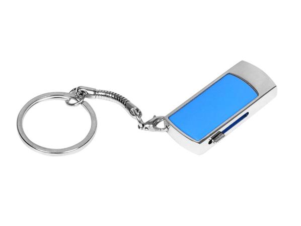 Флешка брелок выдвижная металлическая на 32 Гб, голубой - фото № 1