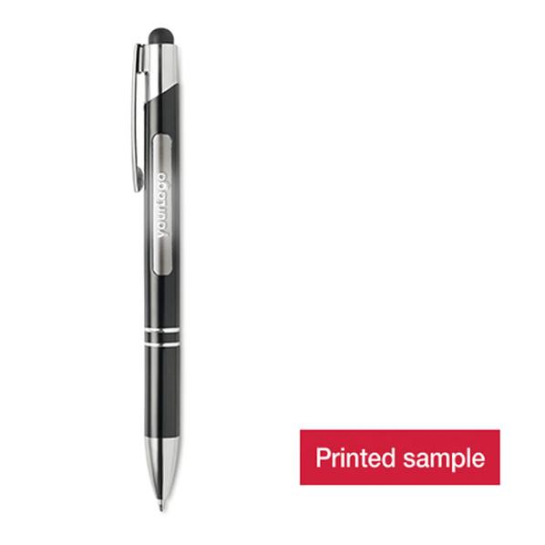 Ручка стилус шариковая металлическая с подсветкой логотипа, антрацит - фото № 1