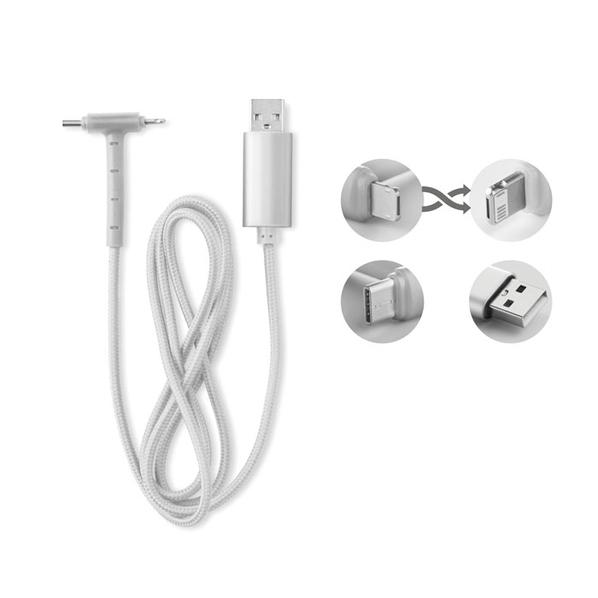 Кабель зарядный USB 3 в 1: micro USB / Lightning / Type C, серебряный - фото № 1