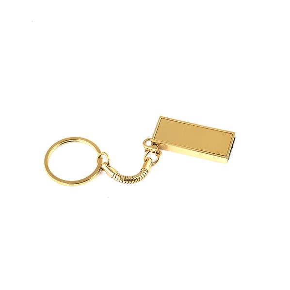 Флешка брелок Слайд мини, металлическая, золотая, 4Гб - фото № 1