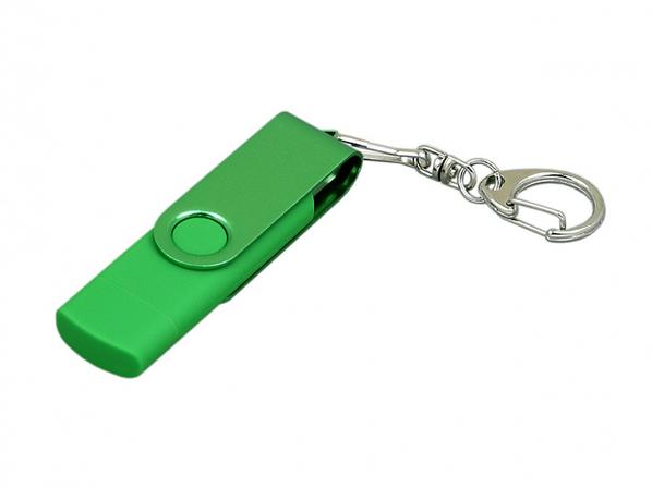 USB-флешка на 32 Гб с поворотным механизмом и дополнительным разъемом Micro USB, зеленый/зеленый - фото № 1