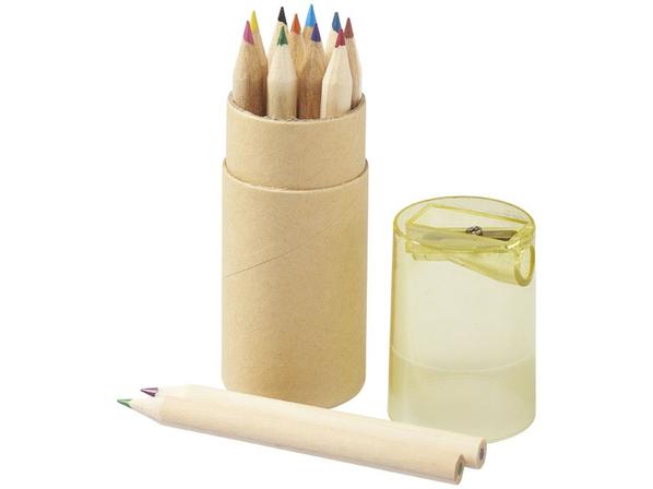 Набор цветных карандашей в тубусе с точилкой, 12 шт, крафт/ прозрачный желтый - фото № 1