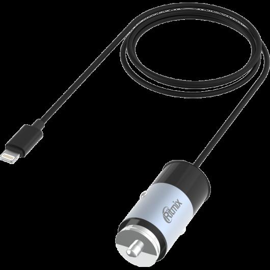 Зарядка в прикуриватель с кабелем Lighting Ritmix RM 5240AP, черно серое - фото № 1