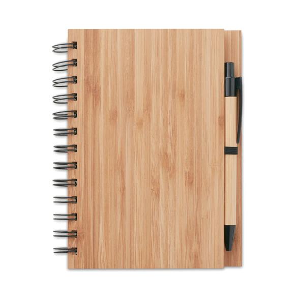 Блокнот на пружине с ручкой А5, 70 стр., древесный - фото № 1