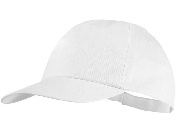 Бейсболка Basic 5 клиньев с застежкой на липучке, белый - фото № 1