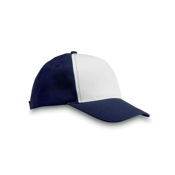 Бейсболка 5 клиньев, темно-синий/белый - фото № 1