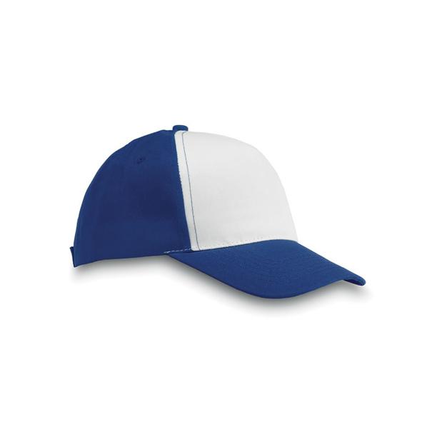 Бейсболка 5 клиньев с застежкой на липучке, синий/белый - фото № 1