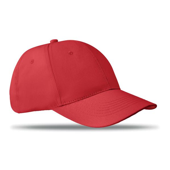 Бейсболка 6 клиньев с застежкой на липучке, темно-красная - фото № 1