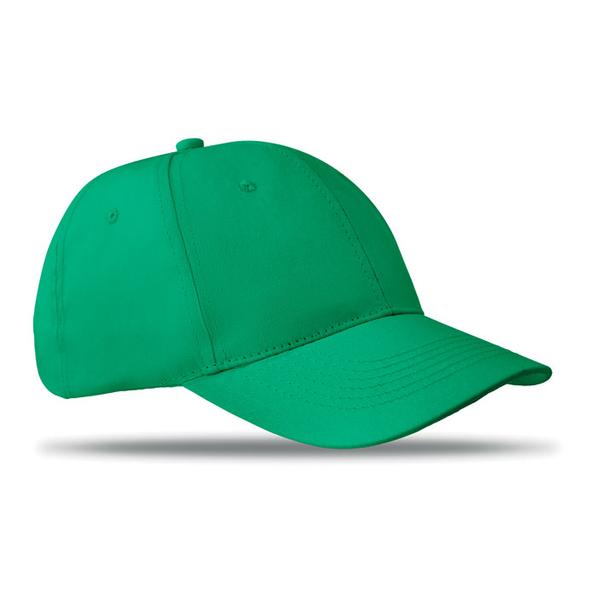 Бейсболка 6 клиньев с застежкой на липучке, зеленая - фото № 1