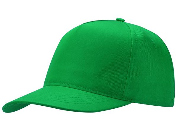 Бейсболка Poly 5 клиньев, зеленый - фото № 1