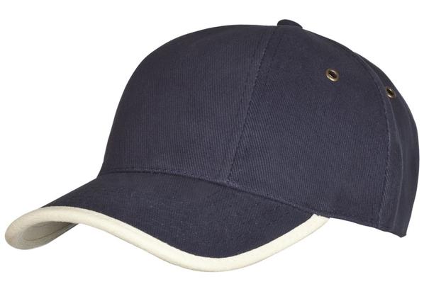 Бейсболка Unit Trendy, темно-синяя/ бежевая - фото № 1