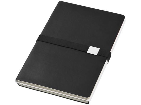 Блокнот в линейку на резинке Journalbooks Doppio А5, 128 листов, черный - фото № 1